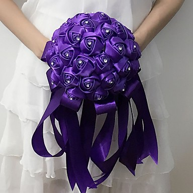 Buy Wedding Flowers Round Roses Bouquets / Party/ Evening Satin 9.06 inch(Approx.23cm)
