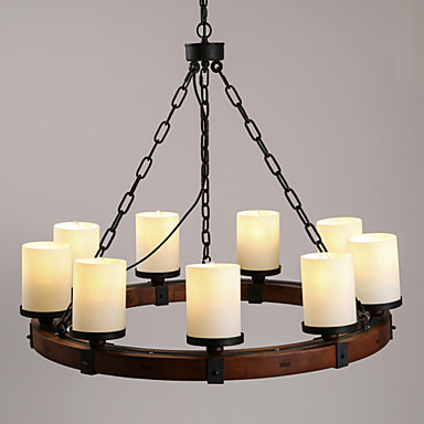 Wooden Ceiling Lights Black Metal With Glass Shades Living Room Bedroom Dining Room Kitchen Bar