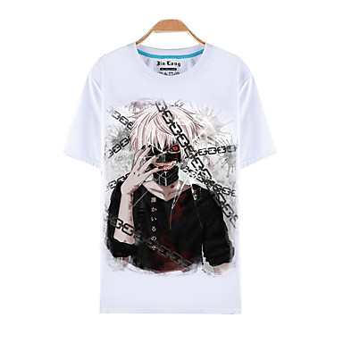 Buy Inspired Tokyo Ghoul Ken Kaneki Anime Cosplay Costumes T-shirt Print White Short Sleeve Top