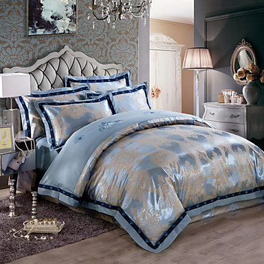 g om trique m lange soie coton 4 pi ces ensembles housse de couette de 4981140 2017. Black Bedroom Furniture Sets. Home Design Ideas