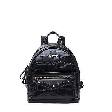 Buy NAWO Women Cowhide Backpack Black-N652021