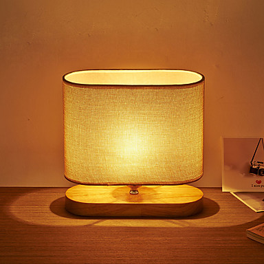 Modern Industrial Art Wood With Fabric Table Lamp For The
