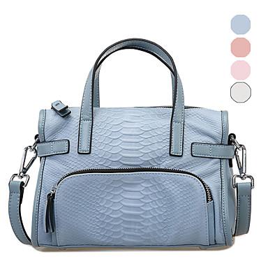 Buy RAFURA Women-Casual-Cowhide-Tote-White / Pink Blue-R0194701