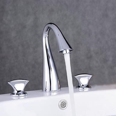 Widespread Three Holes Double Knobs Gooseneck Bathroom Faucet Chrome 5048315