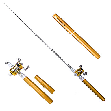 Mini pocket fishing rod pen fly reel extended 38 inch for Mini pen fishing rod