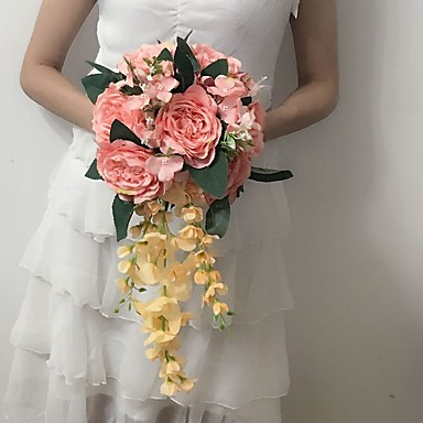 Buy Wedding Flowers Cascade Peonies Bouquets / Party/ Evening Satin 9.84 inch(Approx.25cm)