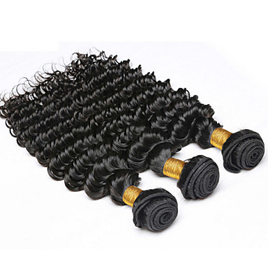 Buy 7A Grade Peruvian Deep Wave Virgin Hair Bundles Lot Curly Weave Human Weft Extensions
