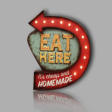 E Home Metal Wall Art Led Wall Decor Eat Here Arrowhead