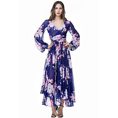 Women's Holiday / Plus Size Boho Swing Dress,Floral Deep V ...