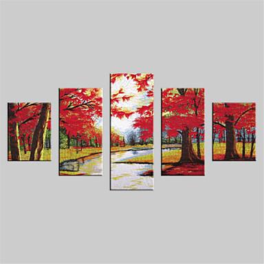 Toile set paysage modern cinq panneaux toile verticale for Decoration murale verticale