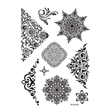 1pc black christmas snowflake flower henna indian tattoo body art temporary tattoo sticker bm. Black Bedroom Furniture Sets. Home Design Ideas
