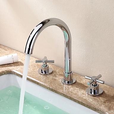 Contemporary Ceramic Valve Two Handles Three Holes For Chrome Bathtub Faucet