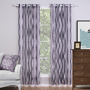 Two Panels Modern Geometic Living Room Polyester Sheer Curtains For Window 14