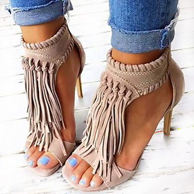 Women's Sandals Spring Summer Fall Leatherette Casual Party & Evening Stiletto Heel Tassel Black Almond