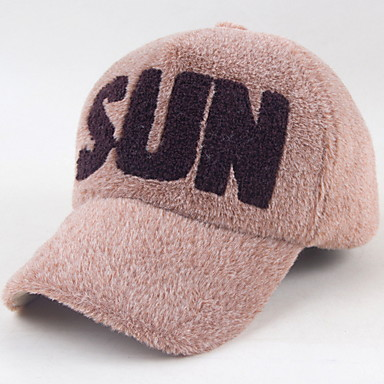 Wild Fashion Letters SUN Fake Fur Sable Baseball Cap Cap