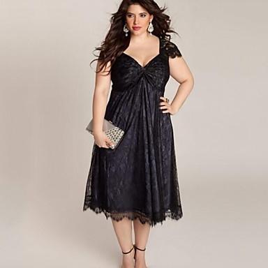 Women's Plus Size Beach Lace Dress,Solid Deep V Midi Short Sleeve Polyester Summer Mid Rise Inelastic Medium