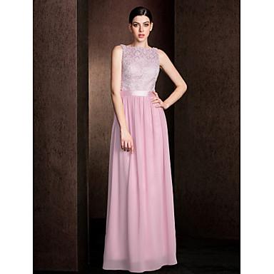 LAN TING BRIDE Floor-length Lace / Georgette Mini Me Bridesmaid Dress - Sheath / Column Bateau Plus Size / Petite
