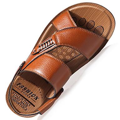 e2011745e Hombre Zapatos Confort Cuero Primavera   Verano Sandalias Paseo Negro    Marrón   Caqui   Casual
