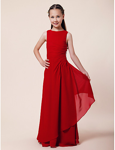 Buy Floor-length Chiffon Junior Bridesmaid Dress A-line / Sheath Column Bateau Natural Beading Side Draping