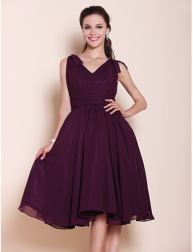 Buy Lanting Bride Knee-length Chiffon Bridesmaid Dress A-line / Princess V-neck Plus Size Petite Bow(s) Draping Ruching