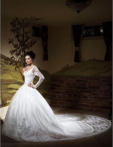 Ball gown v neck long sleeves chapel train satin wedding for Ball gown wedding dresses with long trains