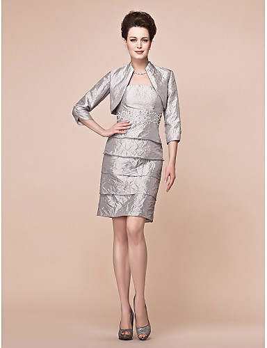 Buy Lanting Bride Sheath / Column Plus Size Petite Mother Dress - Wrap Included Knee-length 3/4 Length Sleeve Taffeta