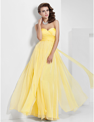 Buy Prom / Formal Evening Military Ball Dress - Elegant A-line Princess Strapless Sweetheart Floor-length Chiffon withDraping Criss