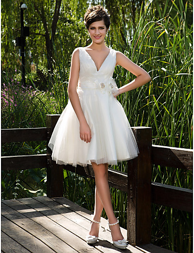 Buy Lanting Bride® Ball Gown Petite / Plus Sizes Wedding Dress - Chic & Modern Glamorous Dramatic See-Through Dresses Knee-length