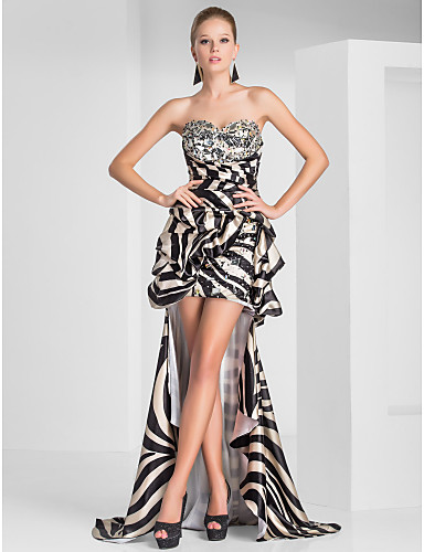 Buy Prom / Formal Evening Dress - High Low Sheath Column Strapless Sweetheart Short Mini Asymmetrical Polyester withBeading Crystal