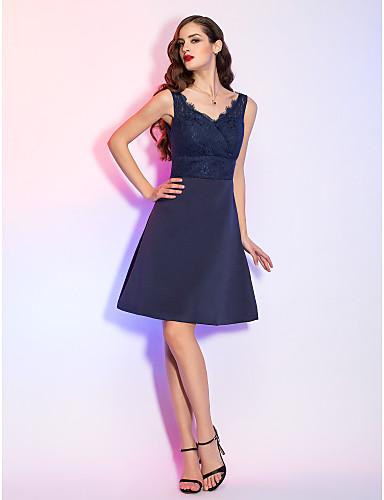 Vestido de cetim curto azul