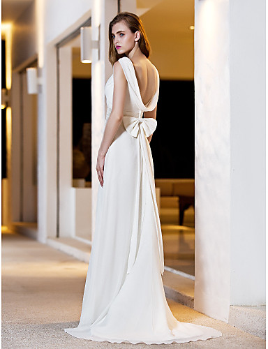 Buy Lanting Bride A-line Petite / Plus Sizes Wedding Dress-Sweep/Brush Train Square Satin Georgette