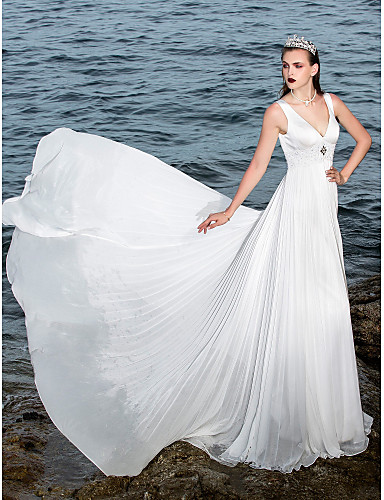 Buy Lanting Bride A-line Petite / Plus Sizes Wedding Dress-Sweep/Brush Train V-neck Chiffon Satin