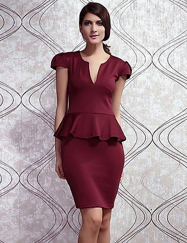 благородный V-образным вырезом миди баски платье бордовый yrsn женщин