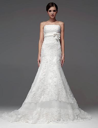 Buy A-line Floor-length Wedding Dress -Strapless Satin