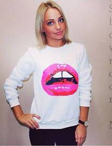 Buy Spring Autumn 2015 Women Hoodies Long Sleeve Sexy Red Lips Printed O Neck Pullover Sport Tracksuits