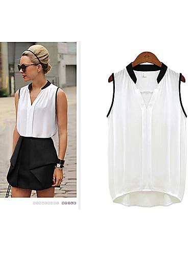 Buy LivsWomen's Casual/Work Shirt Collar Sleeveless T-Shirts (Chiffon/Lace/Others/Silk)
