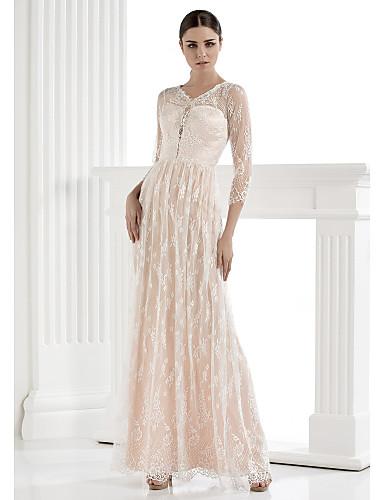 Buy Lanting Bride Sheath/Column Wedding Dress - Ivory Floor-length V-neck Lace