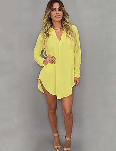 Women 39 S Solid White Yellow Shirt Shirt Collar Long