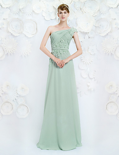 Buy Formal Evening Dress A-line One Shoulder Floor-length Chiffon Appliques