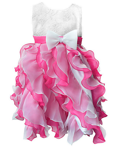 Buy Girl's Blue/ Green/Pink/Red/Beige/Hot Pink Floral Evening Party Dress Organza/Satin Seasons 3~8 Years