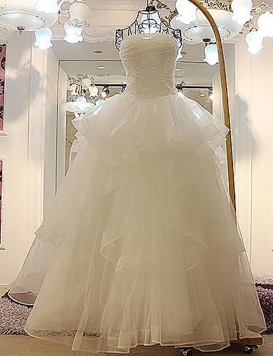 Buy A-line Wedding Dress - Ivory Floor-length Strapless Tulle