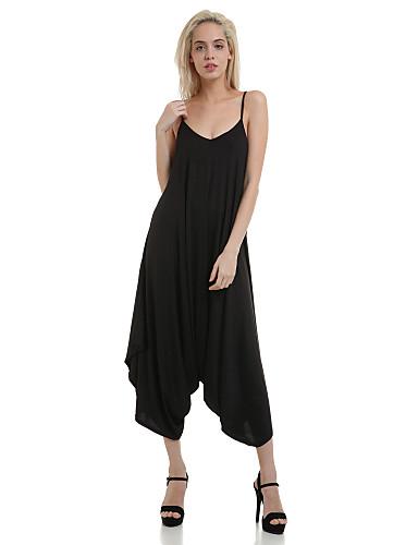 femme ample combinaison pantalon sexy sortie couleur pleine col en v sans manches et sangle. Black Bedroom Furniture Sets. Home Design Ideas