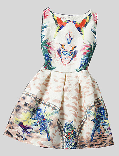 Buy Girl's Casual/Daily Print Dress,Polyester Summer / Spring Fall White