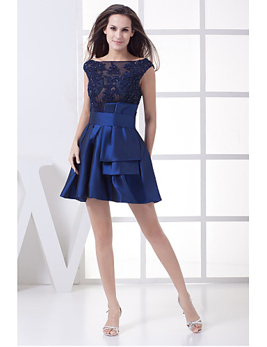 Buy Cocktail Party Dress A-line Scoop Short / Mini Satin Appliques Beading Sash Ribbon
