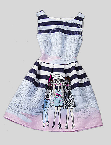 Buy Girl's Casual/Daily Print Dress,Polyester Summer / Spring Fall Blue