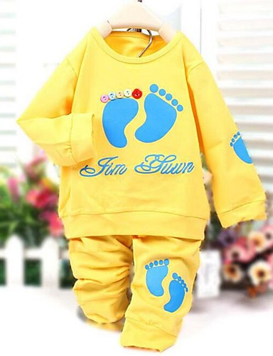 Buy Girl's Casual/Daily Print Clothing Set,Cotton Spring / Fall Blue Green Yellow