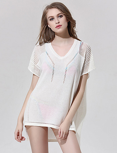 Buy Women's Beach Sexy Summer Blouse,Solid Round Neck Short Sleeve White Polyester Thin