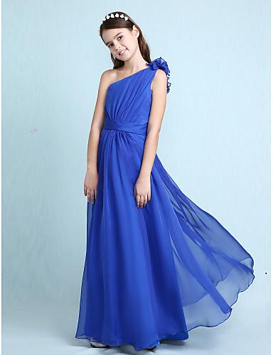Buy Lanting Bride Floor-length Chiffon Junior Bridesmaid Dress A-line / Princess One Shoulder Natural withRuffles Sash Ribbon Side