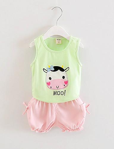 Buy FanXingBeiYiGirl's Casual/Daily Animal Print Tank & Cami / Pants Clothing Set,Cotton Summer Green Pink Yellow