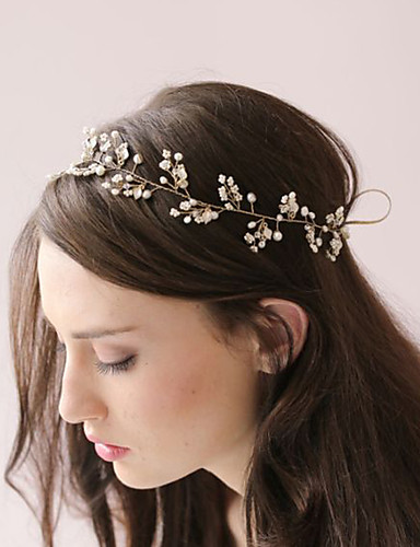 Women Bridal Headband Fashion Simple Handmade Beaded Pearl ...